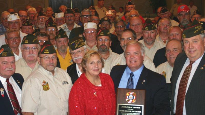 L-R: Leon Johnson (Chairman of the Board, VFW of Ohio Charities); Keith Jeffers (State Commander, VFW Department of Ohio); Patti Uecker; Senator Joe Uecker; Bill Seagraves (Director, VFW of Ohio Charities)