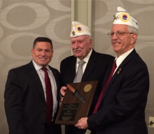 "AMVETS Department of Ohio officers Merle Pratt & Jim Graham present Rep. Rick Perales with ""Legislator of the Year"" Award"